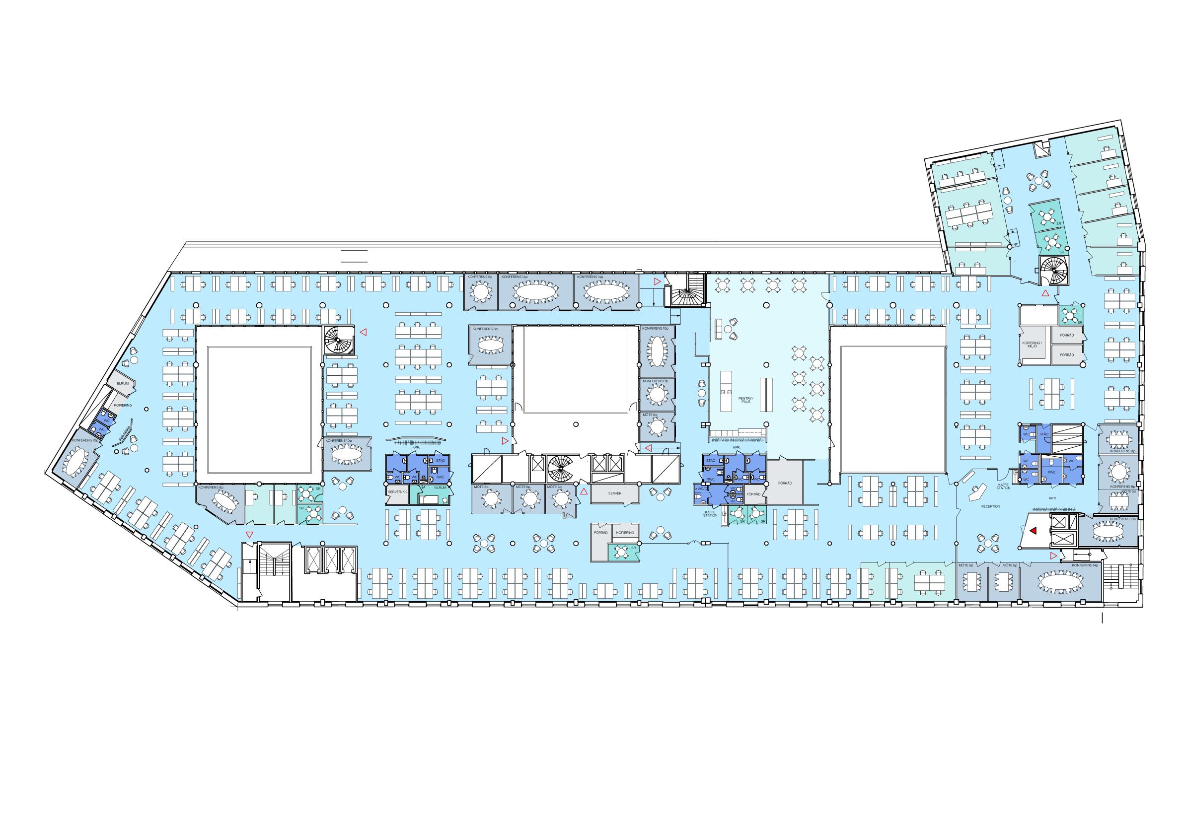 Kontorsplan med tre stora ljusschakt